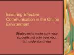 Ensuring Effective Communication in the Online Environment