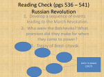 Reading Check (pgs 536 – 541) Russian Revolution