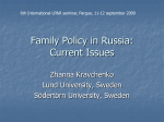 Family Policy in Russia: Current Issues