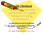 South Carolina High School requirements vs. College/University