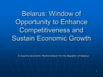 Belarus: Window of Opportunity to Enhance Competitiveness