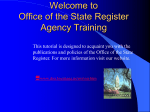 Office of State Register Agency Training