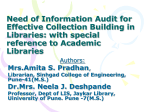 Need of Information Audit for Effective Collection Building in Libraries