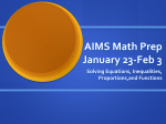 AIMS Math Prep January 23-Feb 3
