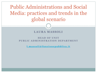 Public Administrations and use of the social media: an