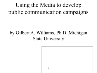 Using the Media to develop public communication campaigns