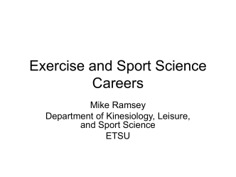 Exercise and Sport Science Careers