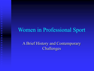 Women in Professional Sport