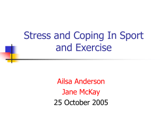 Stress and Coping In Sport