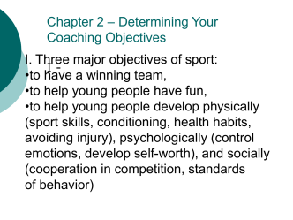 Chapter 2 – Determining Your Coaching Objectives