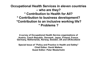 Occupational Health Services in eleven countries