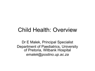 Child Health: Overview - Department of Library Services