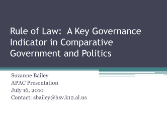 Rule of Law: A Key Governance Indicator in