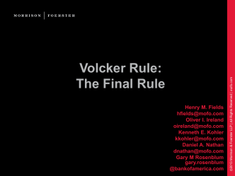Volcker Rule: The Final Rule