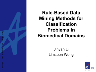 Rule-Based Data Mining Methods for Classification Problems in