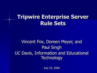Tripwire Enterprise Server - Rule Sets