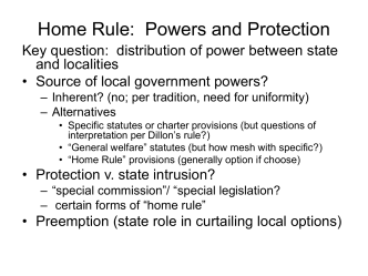Home Rule: Powers and Protection