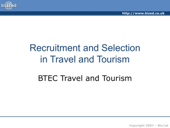 Recruitment and Selection in Travel and Tourism