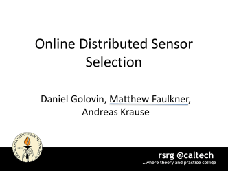 Online Distributed Sensor Selection