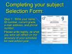 Completing your subject Selection Form: