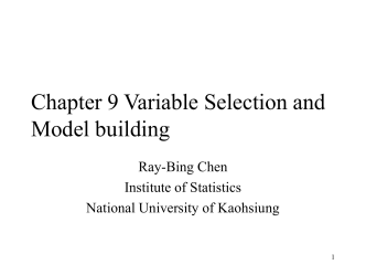 Chapter 9 Variable Selection and Model building