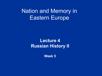Russian History II - University of Warwick