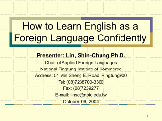 How to Learn English as a Foreign LanguageSuccessfully