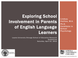 Exploring School Involvement in Parents of English Language