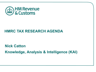 HMRC TAX RESEARCH AGENDA - Institute for Fiscal Studies