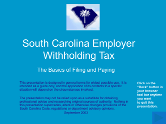 South Carolina Employer Withholding Tax - sctax.org