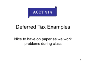 Deferred Tax Examples only