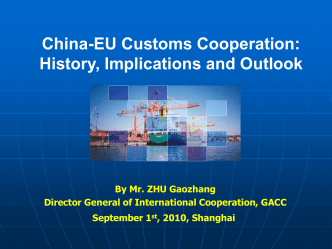 China-EU Customs Cooperation: History, Implications and Outlook