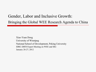 Gender, Labour, and Inclusive Growth in China