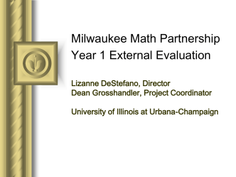 Milwaukee Math Partnership Year 1 External Evaluation