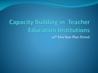 Planning for Teacher Education