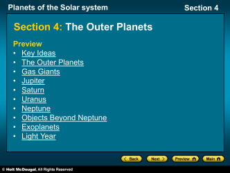 Planets of the Solar system Section 4 The Outer Planets