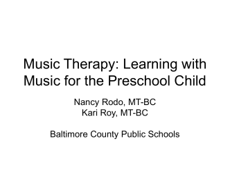 Music Therapy - Baltimore County Public Schools