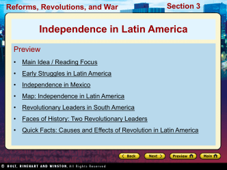 23.3 Independence in Latin America