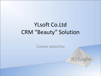 "YLsoft Co.Ltd CRM ""Beauty"" Solution"