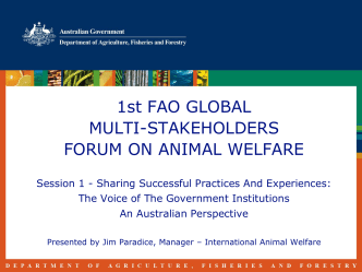 1st FAO GLOBAL MULTI-STAKEHOLDERS FORUM ON ANIMAL