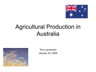 Agricultural Production in Australia