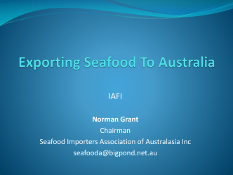 Exporting Seafood To Australia