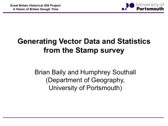 Generating vector data and statistics from the Stamp survey