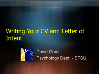 Writing your CV and Letter of Intent