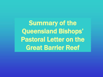 Pastoral Letter on the Great Barrier Reef