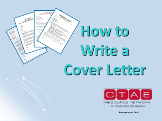 How To Write a Cover Letter PPT