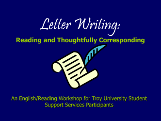 Letter Writing: Reading and Thoughtfully