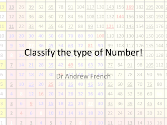 Classify the type of Number! - The Eclecticon of Dr French