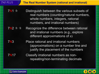 Real Number System and Classification