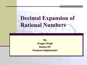 Decimal Expansion of Rational Numbers